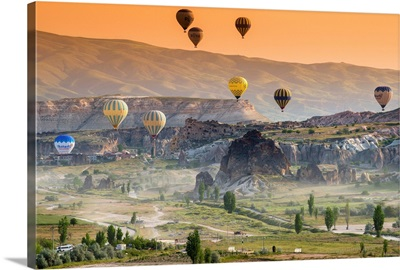 Sunrise landscape with hot air balloons, Goreme, Cappadocia, Turkey