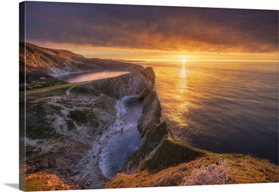Sunrise Over Stair Hole, Lulworth, Jurassic Coast World Heritage Site, Dorset, England