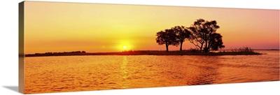 Sunset and Island, Chobe River near Kasane,Africa, Botswana, Chobe National Park