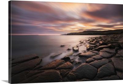Sunset At Kimmeridge Bay, Isle Of Purbeck, Jurassic Coast, Dorset, England, UK