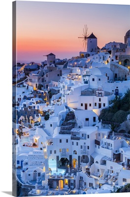 Sunset At The Village Of Oia In Santorini, Cyclades Islands, Greece