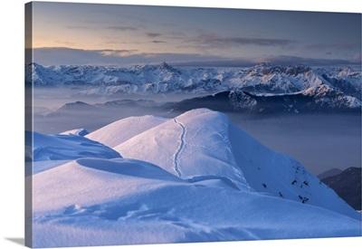 Sunset In Mount Guglielmo, Brescia Prealpi In Brescia Province, Lombardy District, Italy