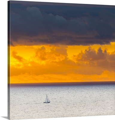 Sunset off the north coast, Serra de Tramuntana, Mallorca, Balearic Islands, Spain