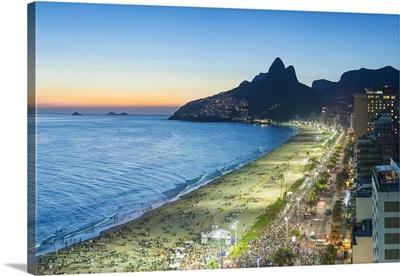 Sunset over Ipanema Beach and Dois Irmaos mountain, Rio de Janeiro, Brazil
