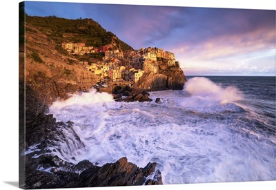 Sunset, Storm Over The Village Of Manarola, Cinque Terre National Park, Italy, Europe