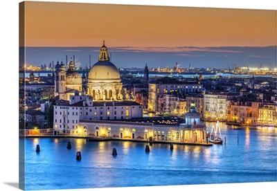 Sunset View Over Basilica Of Santa Maria Della Salute And Grand Canal, Venice, Italy