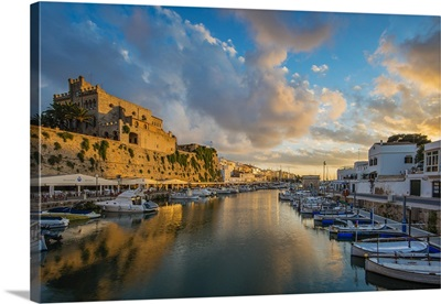 Sunset view over the old port, Ciutadella, Minorca or Menorca, Balearic Islands, Spain