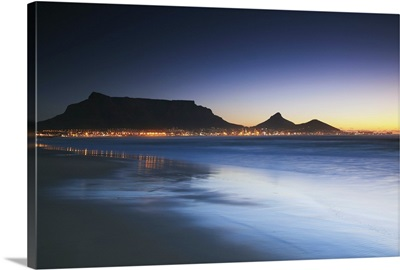 Table Mountain at dusk from Milnerton beach, Cape Town, South Africa
