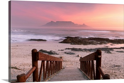 Table Mountain from Bloubergstrand at sunset, Cape Town, Western Cape, South Africa