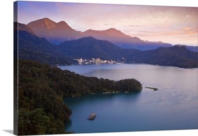 Taiwan, Nantou, View of Sun Moon Lake at sunset