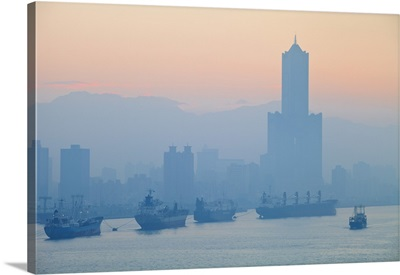Taiwan, View of harbour looking towards the city and  Kaoshiung 85 Sky Tower