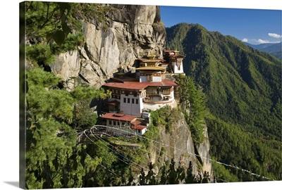 Taktsang Dzong (monastery) or Tiger's Nest, built in the 8th century, Paro, Bhutan