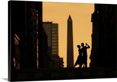 Tango Dancers On Avenida Corrientes At Sunset, Buenos Aires, Argentina