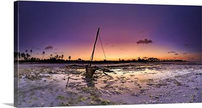 Tanzania. Zanzibar, Jambiani Beach, Dhow (traditional imbarcation) exposed at low tide