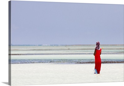 Tanzania, Zanzibar, Unguja, Pongwe, A lady looks out to sea