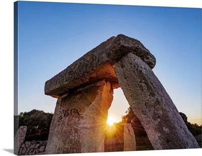 Taula At Sunset, Talati De Dalt Archaeological Site, Minorca, Balearic Islands, Spain