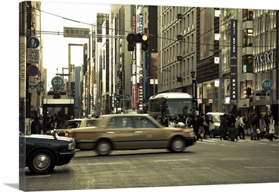Taxi in Ginza, Tokyo, Japan