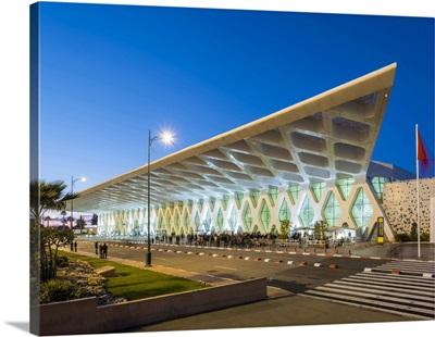 Terminal building at Marrakesh Menara Airport at dusk