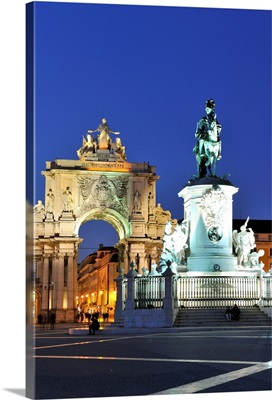 Terreiro do Paco at twilight, One of the centers of the historic city, Lisbon, Portugal