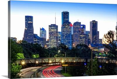 Texas, Houston, Rosemont Pedestrian Bridge, Buffalo Bayou Park,  Dawn, Memorial Drive
