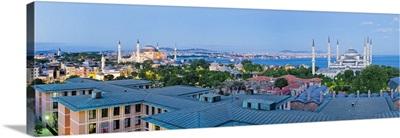 The Blue Mosque and city skyline Istanbul, Marmara province, Turkey, Europe