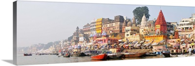 The ghats along the Ganges river banks, Varanasi, India