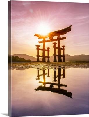 The great Torii at sunset, Miyajima island, Hiroshima Prefecture, Japan
