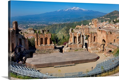 The Greek theatre and Mount Etna, Taormina, Sicily, Italy