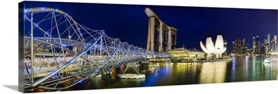 The Helix Bridge and Marina Bay Sands, Marina Bay, Singapore
