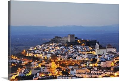 The historical village of Castelo de Vide at twilight, Alentejo, Portugal