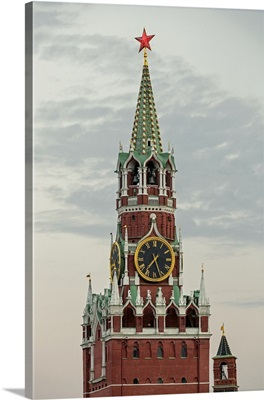 The Kremlin clocktower in Red Square, Moscow, Russia