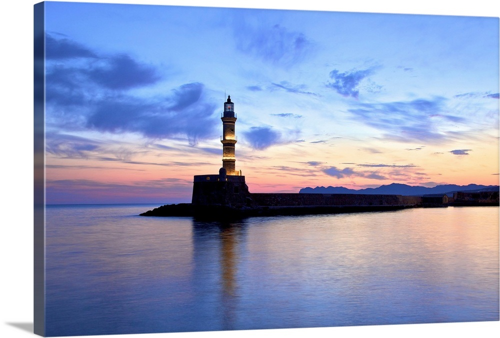 The Light House in The Venetian Harbour at Sunrise, Chania, Crete, Greek  Islands, Greece