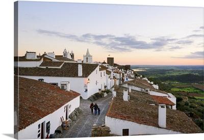 The medieval and historic village of Monsaraz at twilight, Alentejo, Portugal
