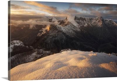 The Pania Della Croce And Pania Secca, Winter Sunset In The Apuan Alps, Tuscany