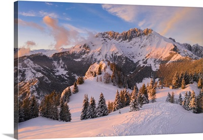 The Presolana Covered In Snow At Sunset From Mount Scanapa, Val Seriana, Lombardy, Italy