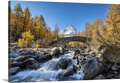 The River Cairasca And Monte Leone In The Background During Autumn, Piedmont, Italy