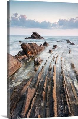 The Sea And The Rocks Of Antignano Di Livorno At Sunset, Tuscany, Italy