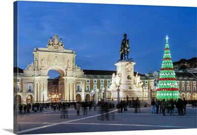 The traditional Christmas tree at Terreiro do Paco, Lisbon, Portugal