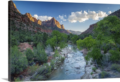 The Watchman Mountain And Virgin River, Zion National Park, Utah, USA
