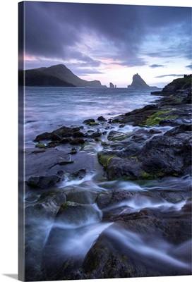 Tindholmur at sunset from Bour on the island of Vagar, Faroe Islands, Denmark.