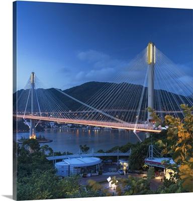 Ting Kau Bridge at dusk, Tsing Yi, Hong Kong, China