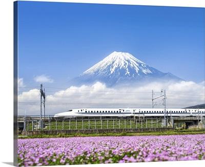 Tokaido Shinkansen bullet train passing by Mount Fuji