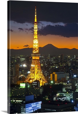Tokyo Tower and Mt. Fuji from Shiodome, Tokyo, Japan