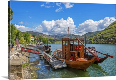 Tourist Boats At Pinhao With River Duoro, Vila Real, Tras-Os-Montes, Portugal