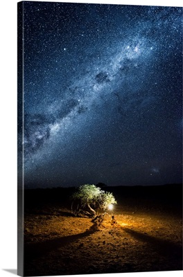 Tourist Camping Outdoor Admiring The Stars Of The Southern Hemisphere, Namibia, Africa.