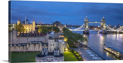 Tower Bridge, Tower Of London And River Thames, London, England, UK