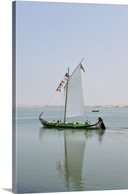 Traditional boat used to collect seaweed in the Ria de Aveiro, Beira Litoral, Portugal