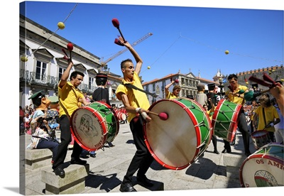 Traditional drummers during the Our Lady of Agony Festivities, Portugal
