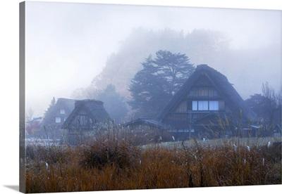 Traditional Houses Of Ogimachi In Mist. Shirakawa-Go, Toyama Prefecture, Japan