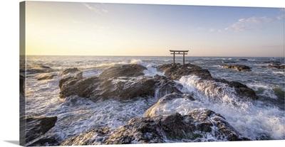 Traditional Japanese Torii Gate At The Oarai Isosaki Shrine, Ibaraki Prefecture, Japan
